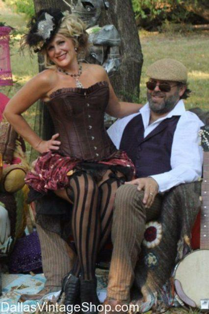 Scarborough Fair Steampunk Town Baron & Baroness, Steampunk Corsets, Victorian Steampunk Ladies Costumes, Victorian Steampunk Ladies Hats, steampunk accessories, Steampunk Couple Outfits, Steampunk Couples Outfits Dallas,