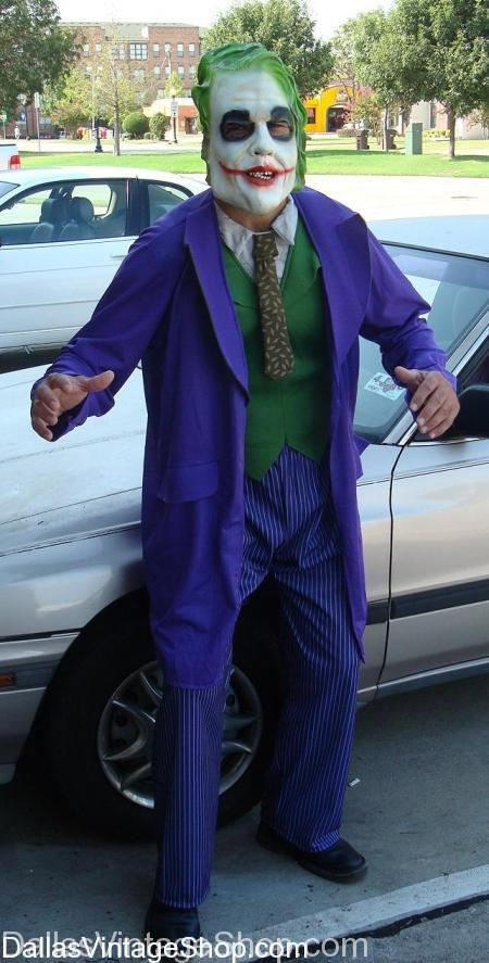 Economy Joker Costume: Many Joker Costumes: Also Deluxe & Othre Versions of Joker Outfits, Suicide Squad, Dark Knight, Joker 2019 Movie, Makeup, Masks, Suits, Wigs from Dallas Vintage Shop.